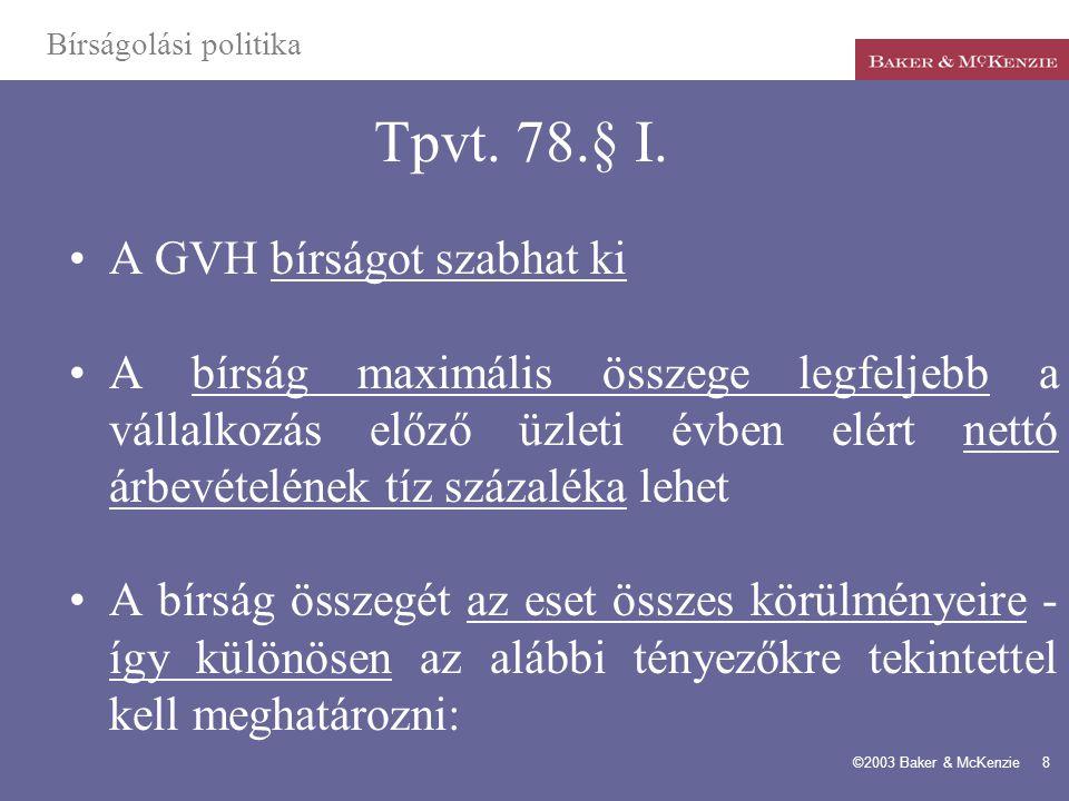 Tpvt. 78.§ I. A GVH bírságot szabhat ki