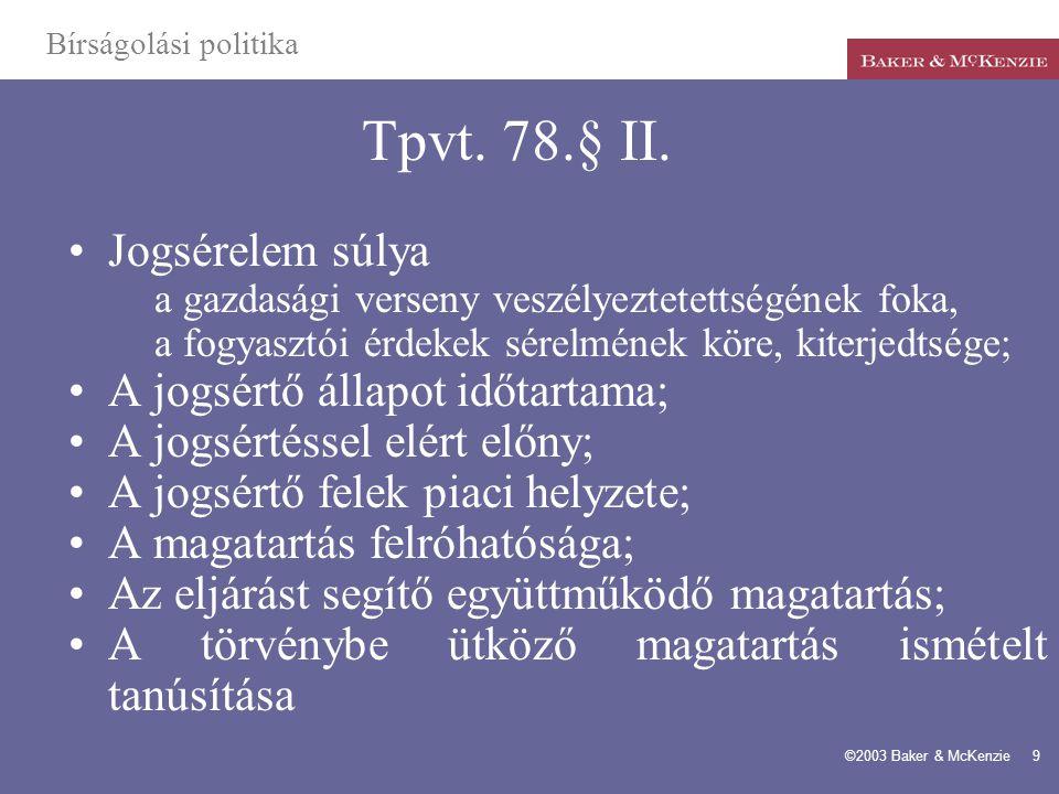 Tpvt. 78.§ II. Jogsérelem súlya A jogsértő állapot időtartama;