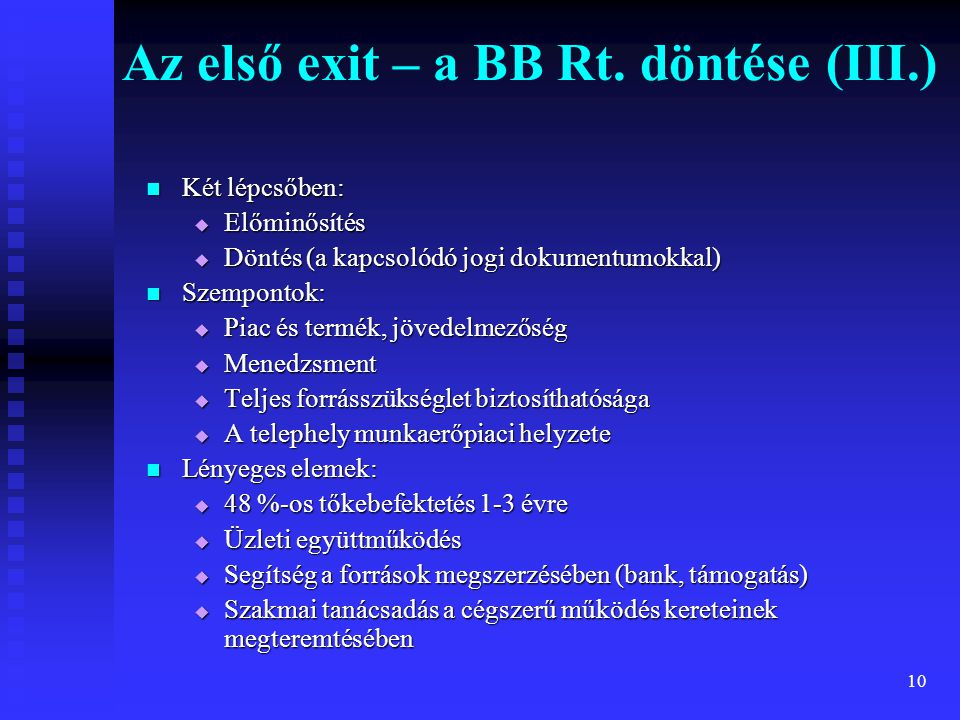 Az első exit – a BB Rt. döntése (III.)