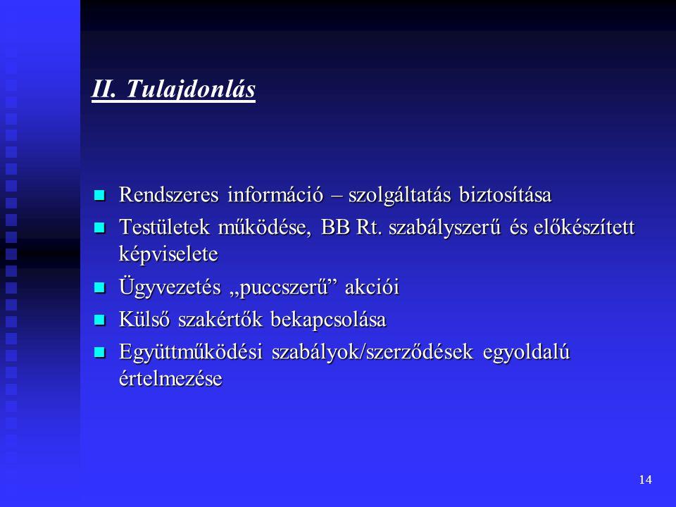 II. Tulajdonlás Rendszeres információ – szolgáltatás biztosítása