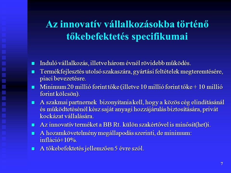 Az innovatív vállalkozásokba történő tőkebefektetés specifikumai