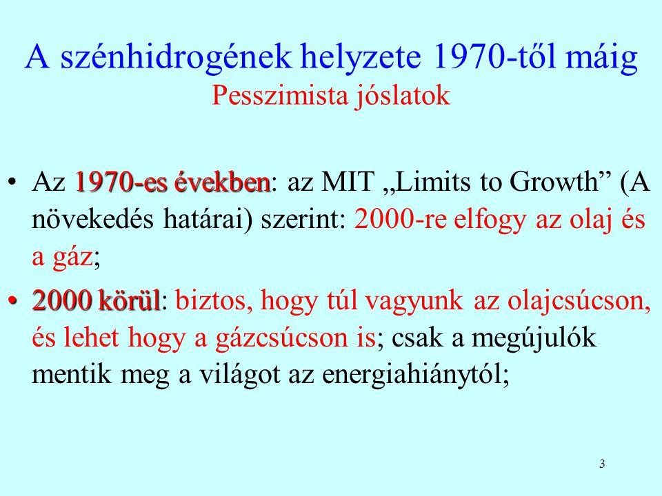 A szénhidrogének helyzete 1970-től máig Pesszimista jóslatok