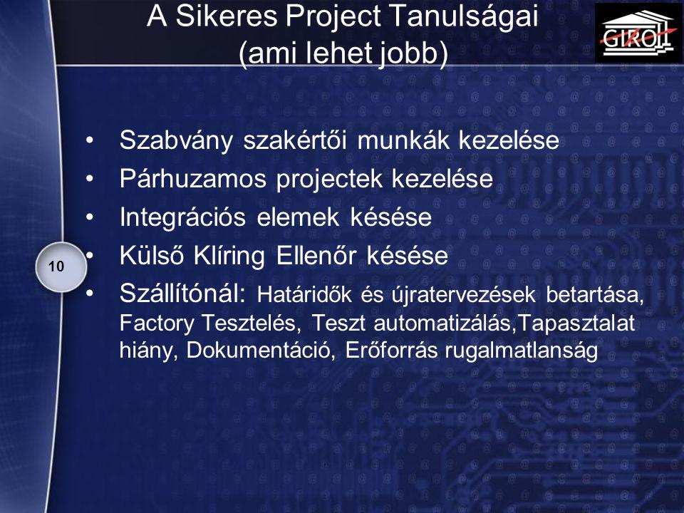 A Sikeres Project Tanulságai (ami lehet jobb)