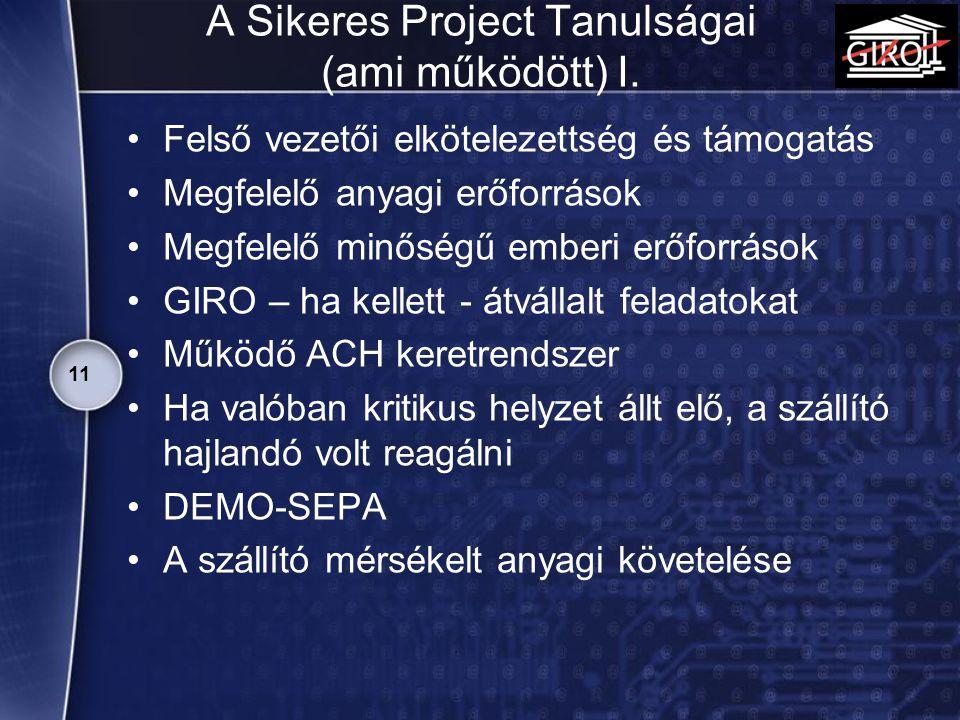 A Sikeres Project Tanulságai (ami működött) I.
