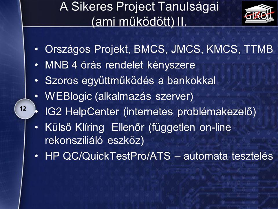 A Sikeres Project Tanulságai (ami működött) II.