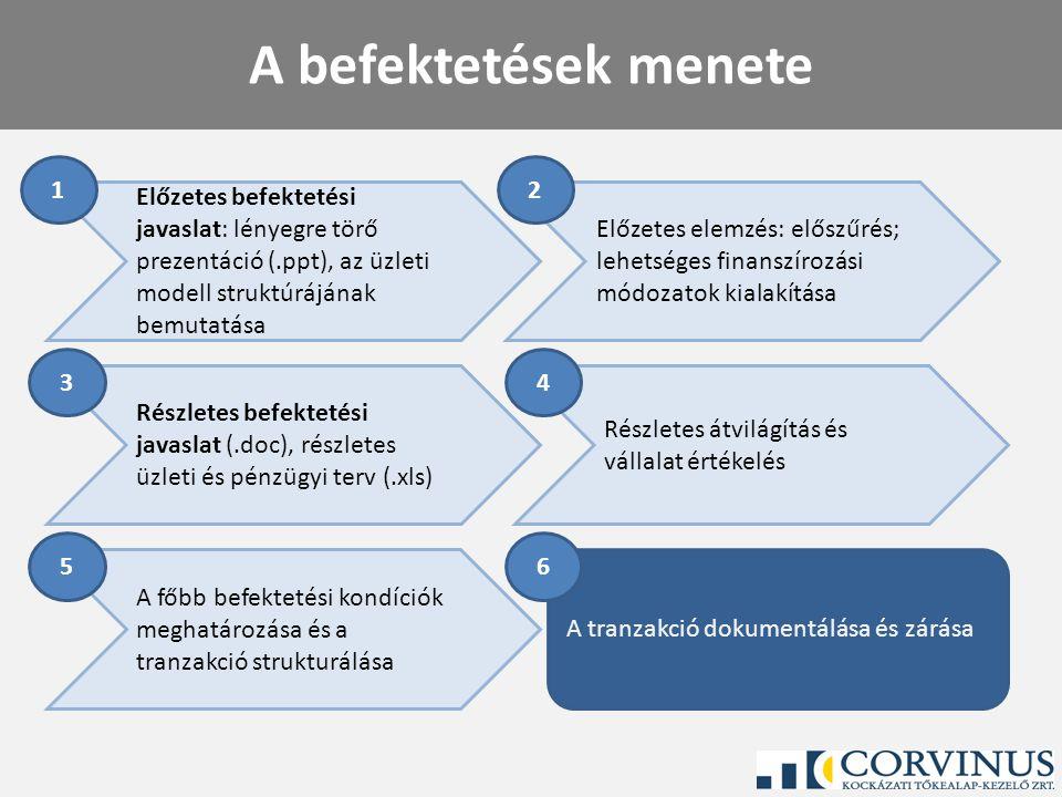A befektetések menete 1. 2. Előzetes befektetési javaslat: lényegre törő prezentáció (.ppt), az üzleti modell struktúrájának bemutatása.