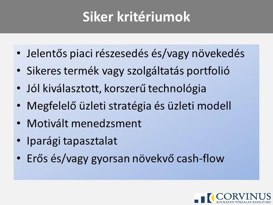 Siker kritériumok Jelentős piaci részesedés és/vagy növekedés