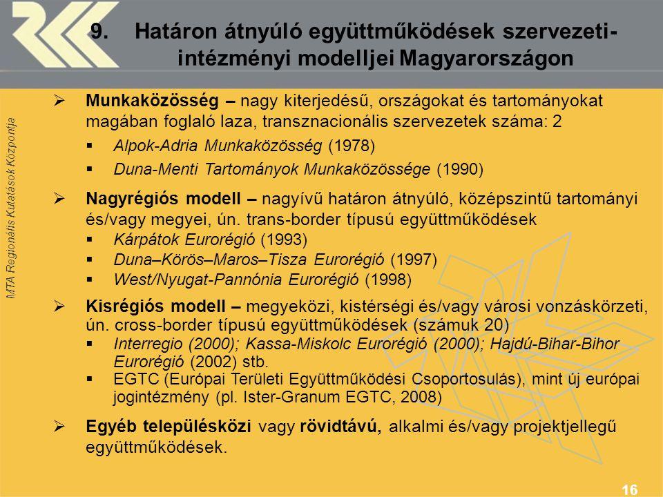 9. Határon átnyúló együttműködések szervezeti- intézményi modelljei Magyarországon