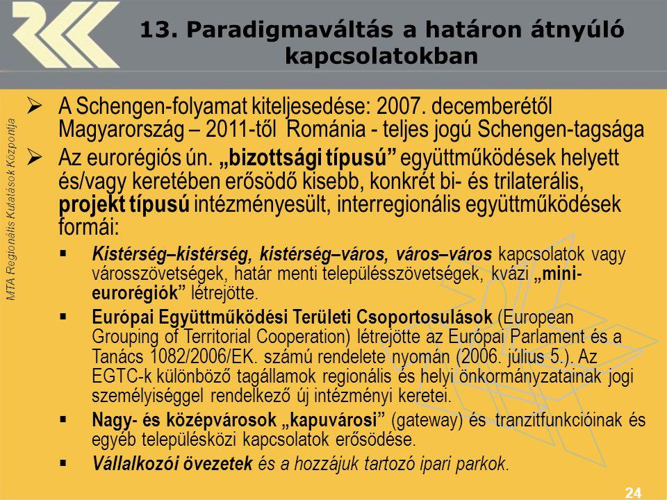 13. Paradigmaváltás a határon átnyúló kapcsolatokban