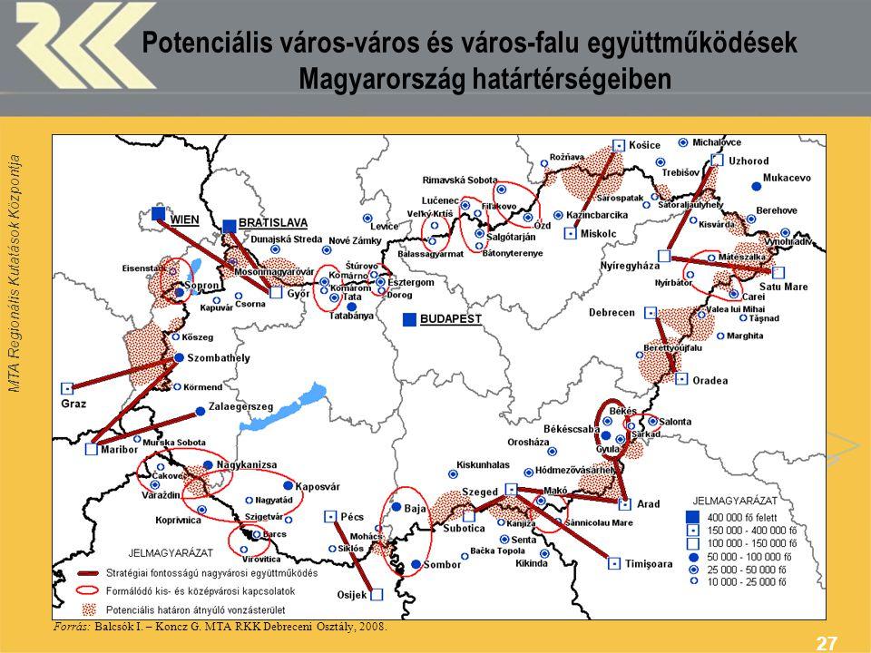 Potenciális város-város és város-falu együttműködések Magyarország határtérségeiben