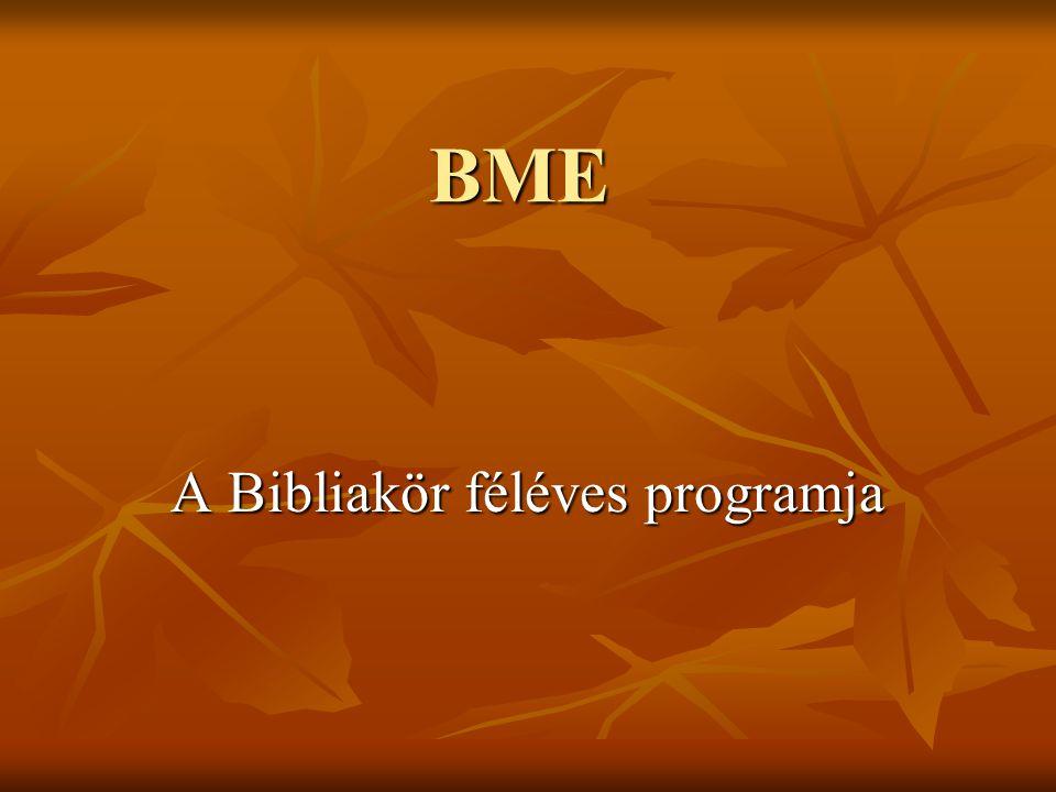 A Bibliakör féléves programja