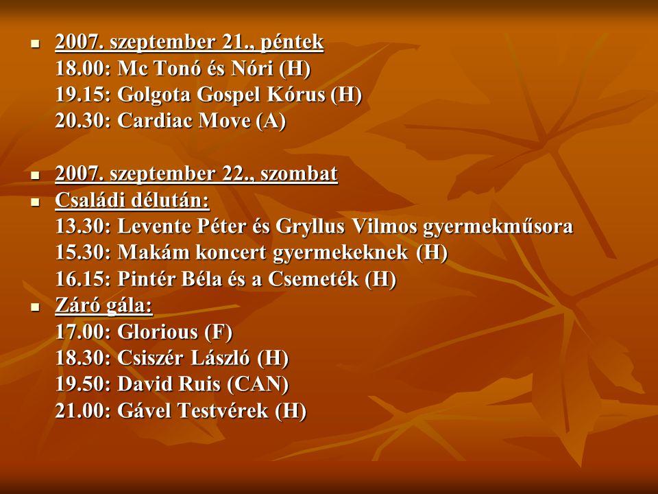 2007. szeptember 21., péntek 18.00: Mc Tonó és Nóri (H) 19.15: Golgota Gospel Kórus (H) 20.30: Cardiac Move (A)