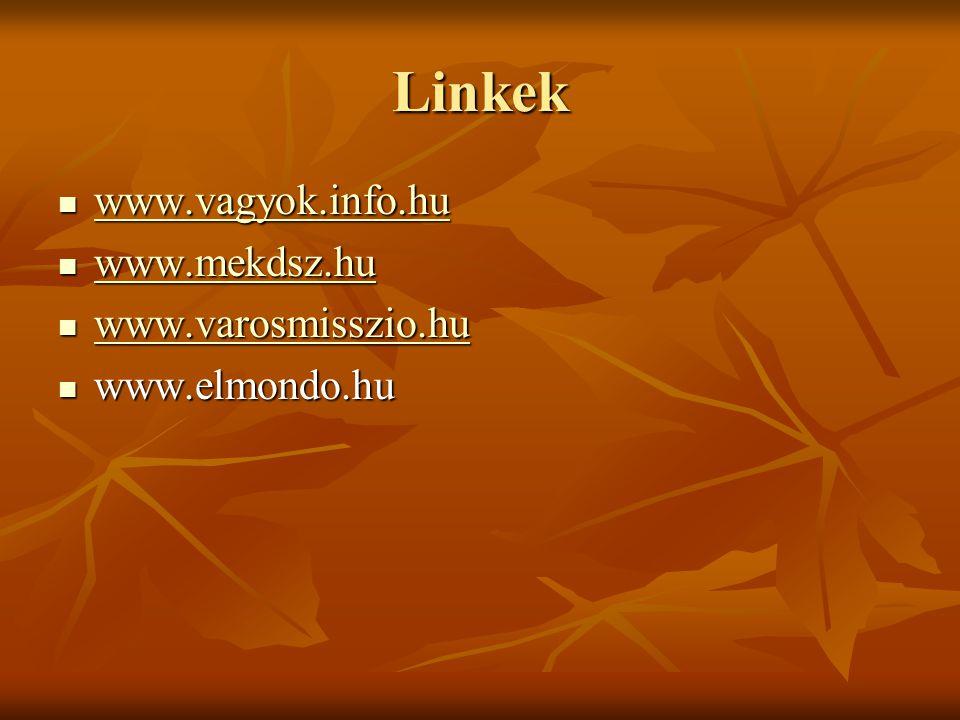 Linkek www.vagyok.info.hu www.mekdsz.hu www.varosmisszio.hu