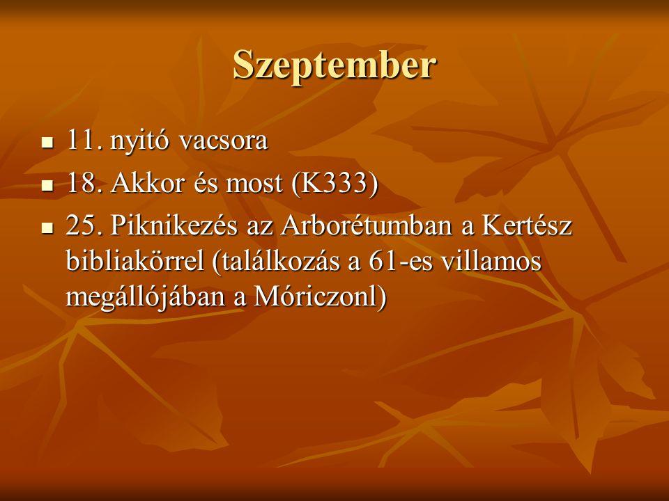 Szeptember 11. nyitó vacsora 18. Akkor és most (K333)