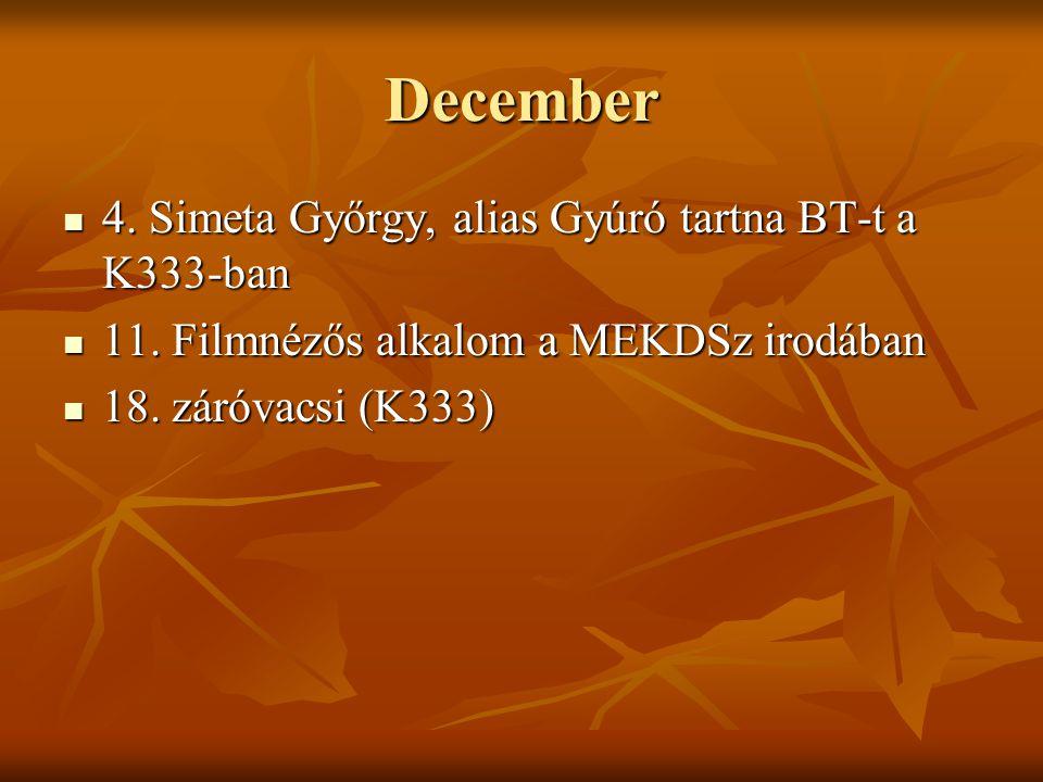 December 4. Simeta Győrgy, alias Gyúró tartna BT-t a K333-ban