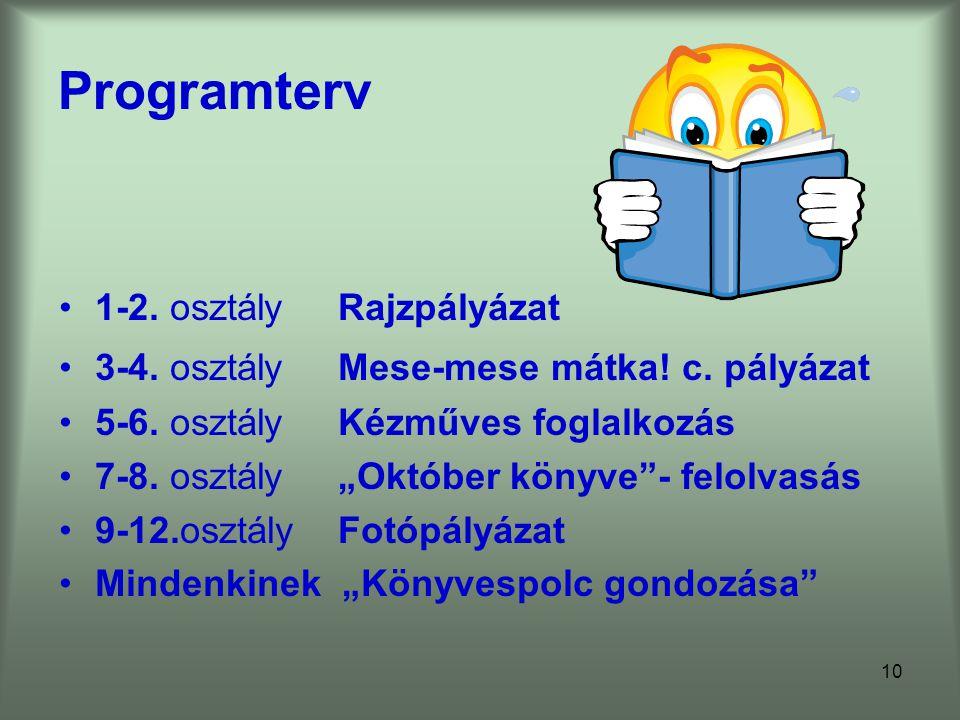 Programterv 1-2. osztály Rajzpályázat