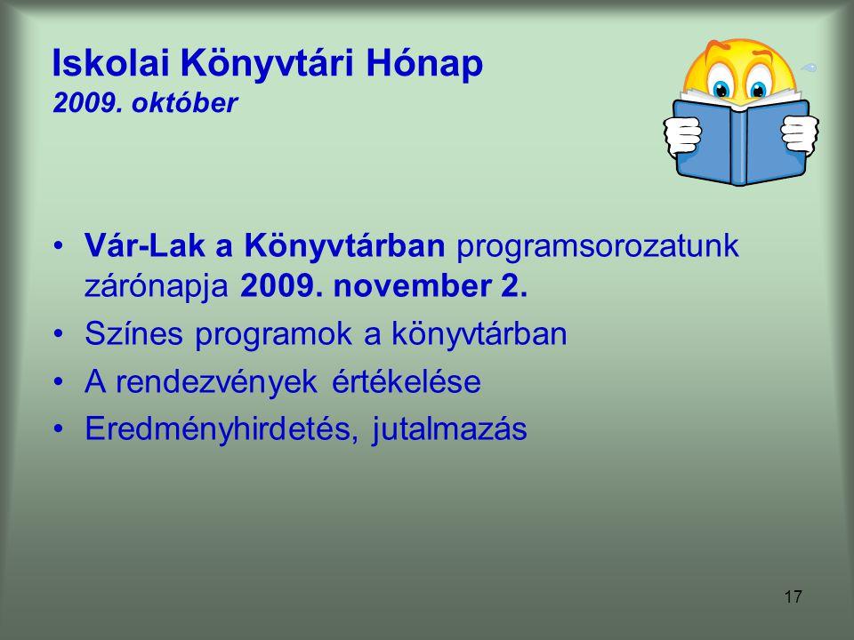 Iskolai Könyvtári Hónap 2009. október