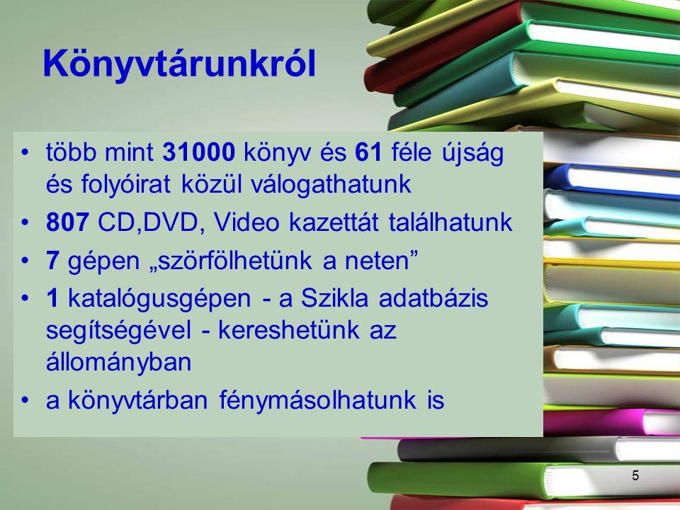 Könyvtárunkról több mint 31000 könyv és 61 féle újság és folyóirat közül válogathatunk. 807 CD,DVD, Video kazettát találhatunk.