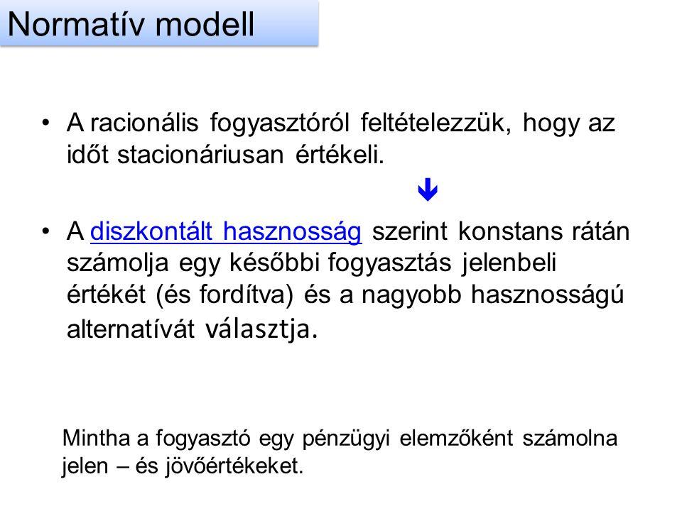 Normatív modell A racionális fogyasztóról feltételezzük, hogy az időt stacionáriusan értékeli. 