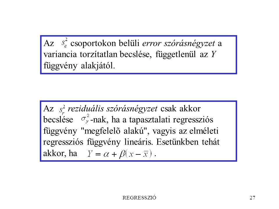 Az csoportokon belüli error szórásnégyzet a variancia torzítatlan becslése, függetlenül az Y függvény alakjától.