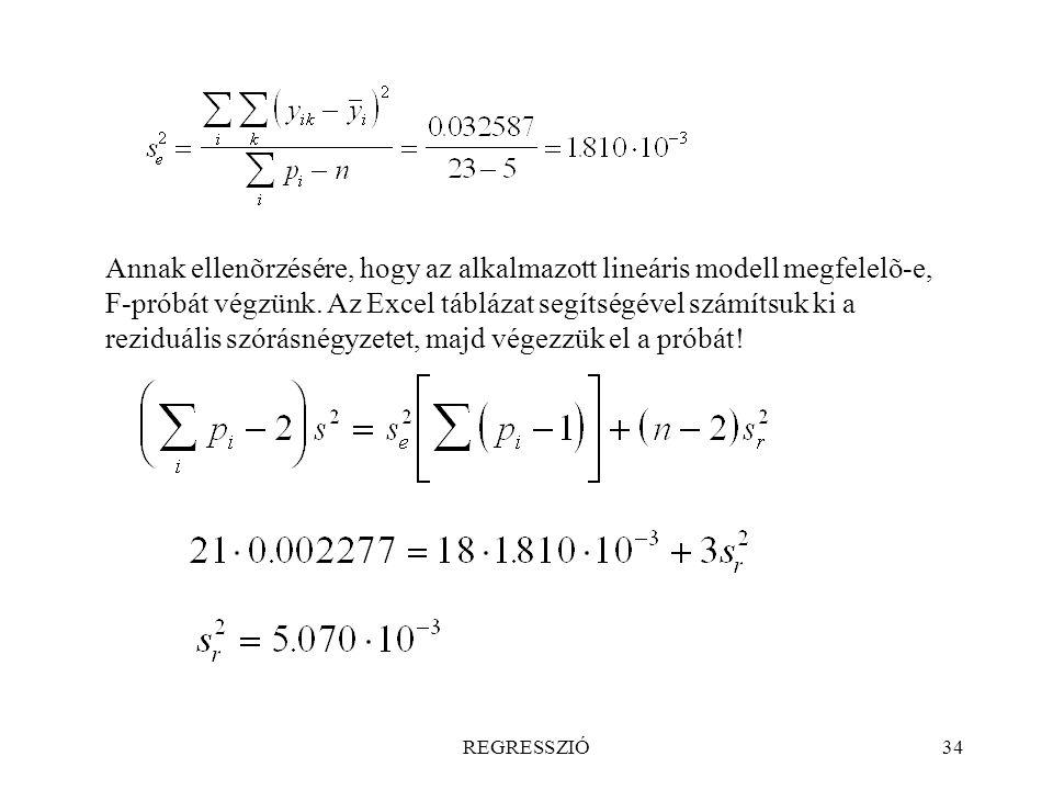 Annak ellenõrzésére, hogy az alkalmazott lineáris modell megfelelõ-e, F-próbát végzünk. Az Excel táblázat segítségével számítsuk ki a reziduális szórásnégyzetet, majd végezzük el a próbát!
