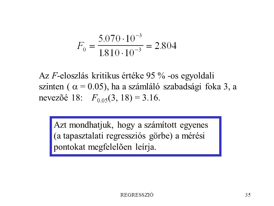 Az F-eloszlás kritikus értéke 95 % -os egyoldali szinten ( a = 0