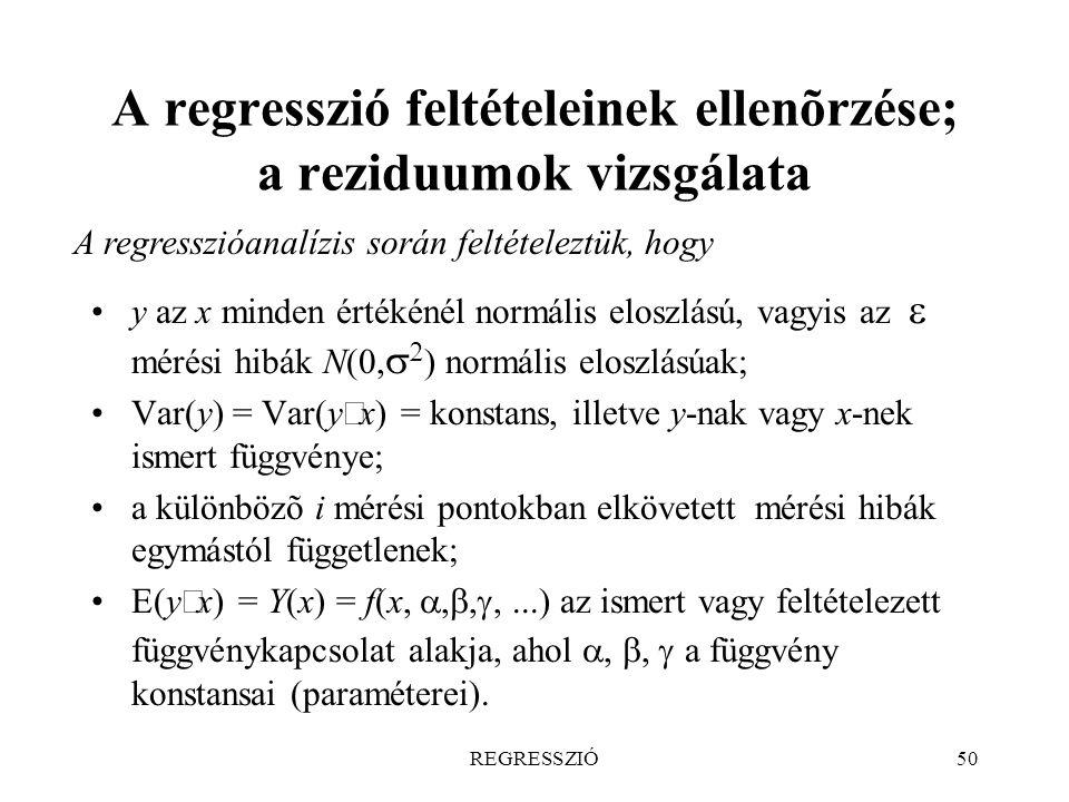 A regresszió feltételeinek ellenõrzése; a reziduumok vizsgálata