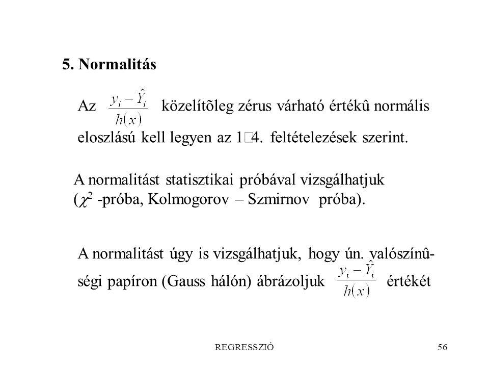5. Normalitás Az közelítõleg zérus várható értékû normális eloszlású kell legyen az 1¼4. feltételezések szerint.