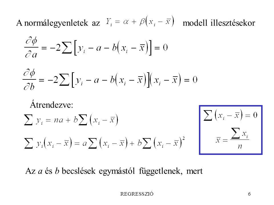 Az a és b becslések egymástól függetlenek, mert