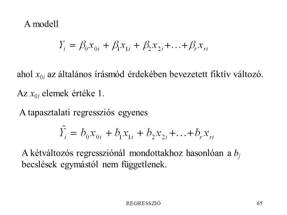 ahol x0i az általános írásmód érdekében bevezetett fiktív változó.