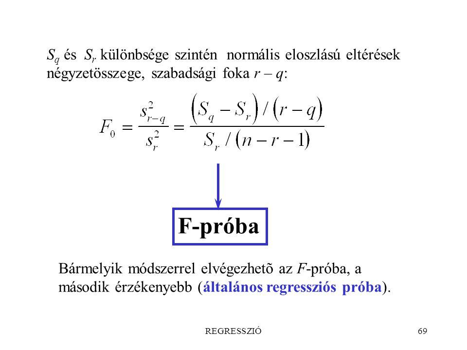 Sq és Sr különbsége szintén normális eloszlású eltérések négyzetösszege, szabadsági foka r – q: