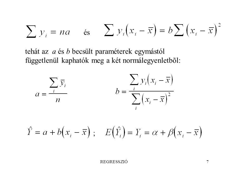 és tehát az a és b becsült paraméterek egymástól függetlenül kaphatók meg a két normálegyenletbõl: