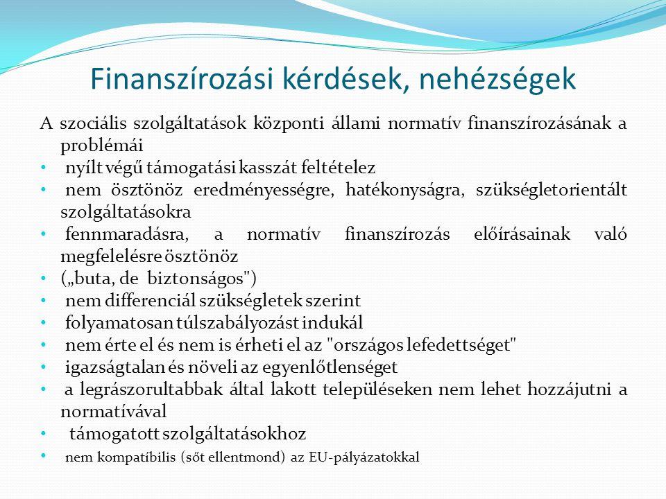 Finanszírozási kérdések, nehézségek