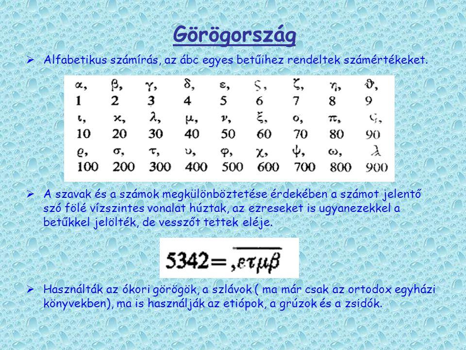 Görögország Alfabetikus számírás, az ábc egyes betűihez rendeltek számértékeket.