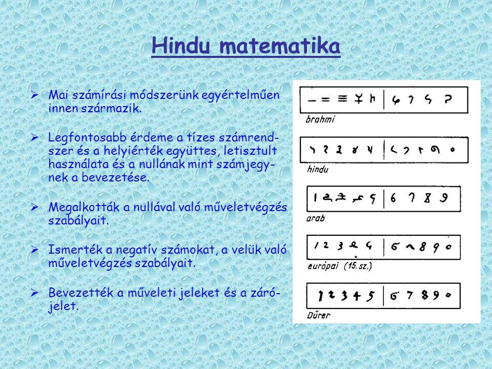 Hindu matematika Mai számírási módszerünk egyértelműen innen származik.
