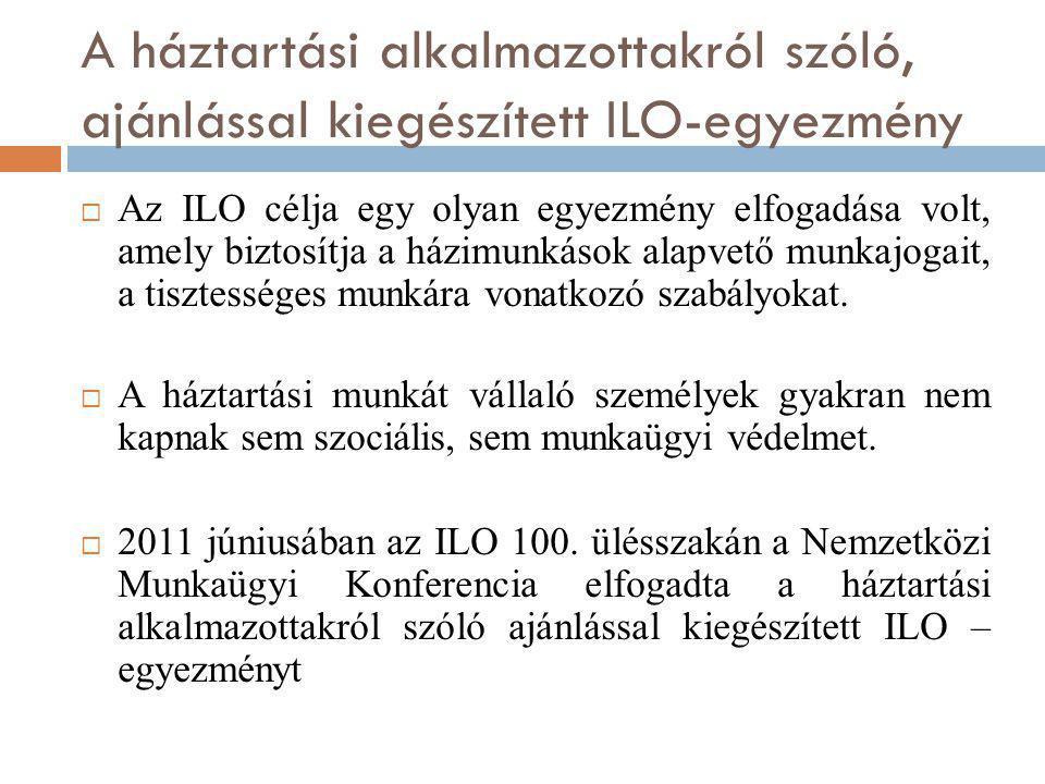 A háztartási alkalmazottakról szóló, ajánlással kiegészített ILO-egyezmény