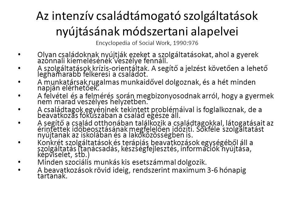 Az intenzív családtámogató szolgáltatások nyújtásának módszertani alapelvei Encyclopedia of Social Work, 1990:976