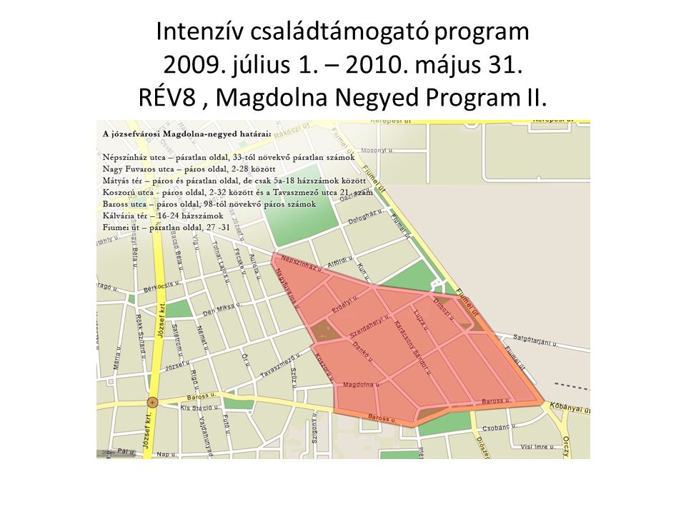 Intenzív családtámogató program 2009. július 1. – 2010. május 31