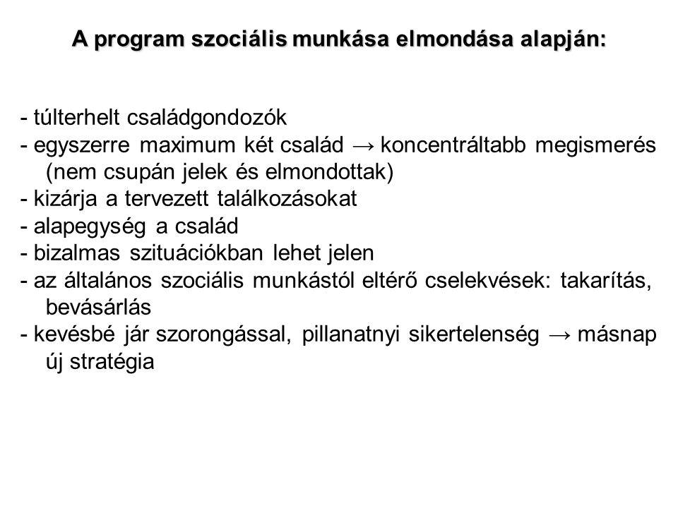 A program szociális munkása elmondása alapján: