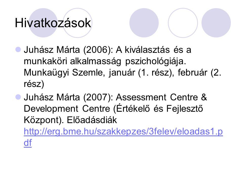 Hivatkozások Juhász Márta (2006): A kiválasztás és a munkaköri alkalmasság pszichológiája. Munkaügyi Szemle, január (1. rész), február (2. rész)