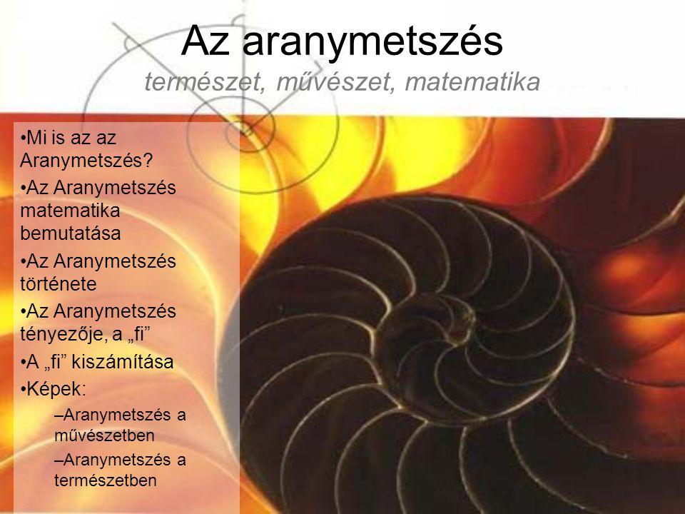 Az aranymetszés természet, művészet, matematika