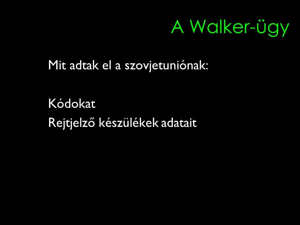 A Walker-ügy Mit adtak el a szovjetuniónak: Kódokat