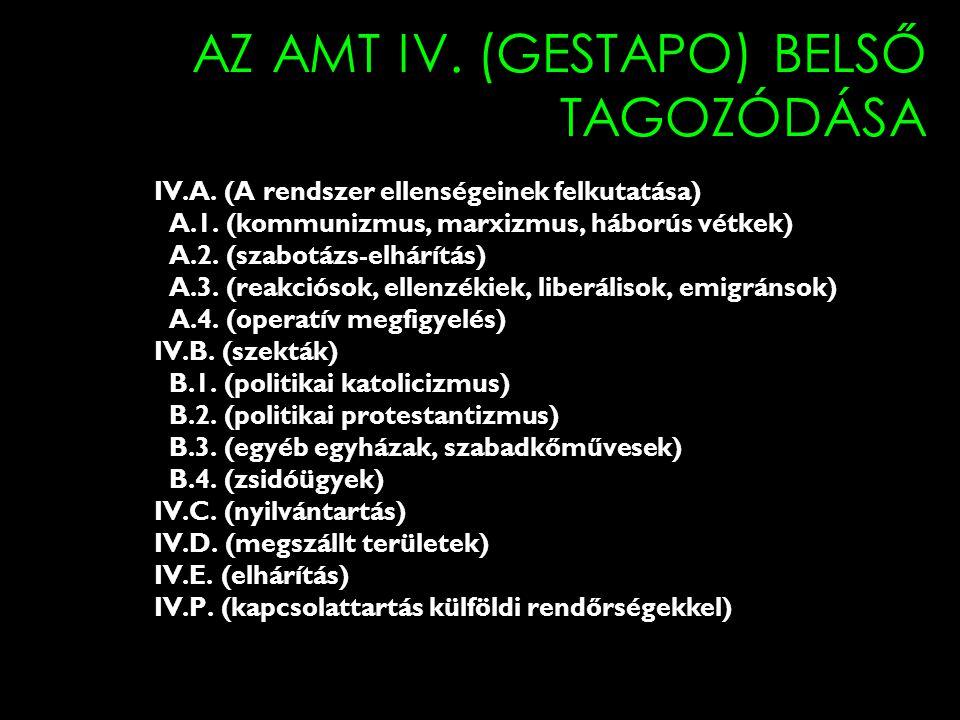 AZ AMT IV. (GESTAPO) BELSŐ TAGOZÓDÁSA