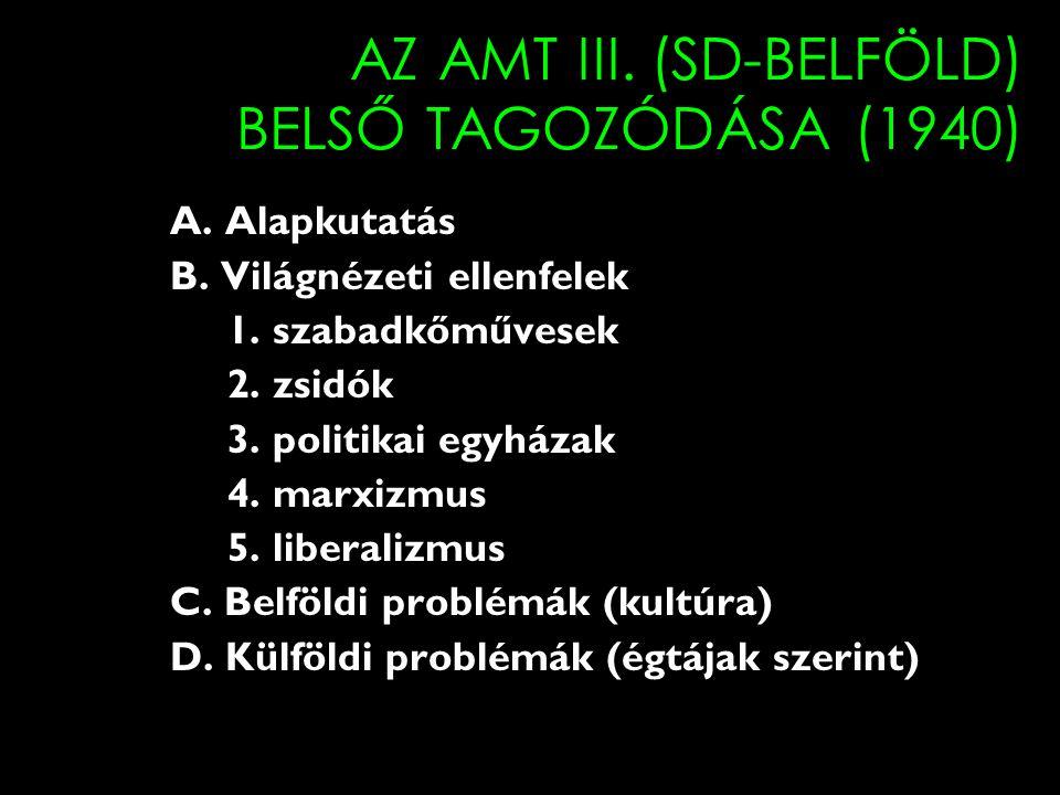 AZ AMT III. (SD-BELFÖLD) BELSŐ TAGOZÓDÁSA (1940)