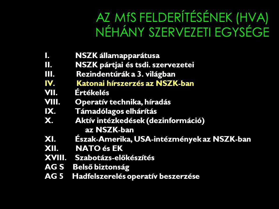 AZ MfS FELDERÍTÉSÉNEK (HVA) NÉHÁNY SZERVEZETI EGYSÉGE