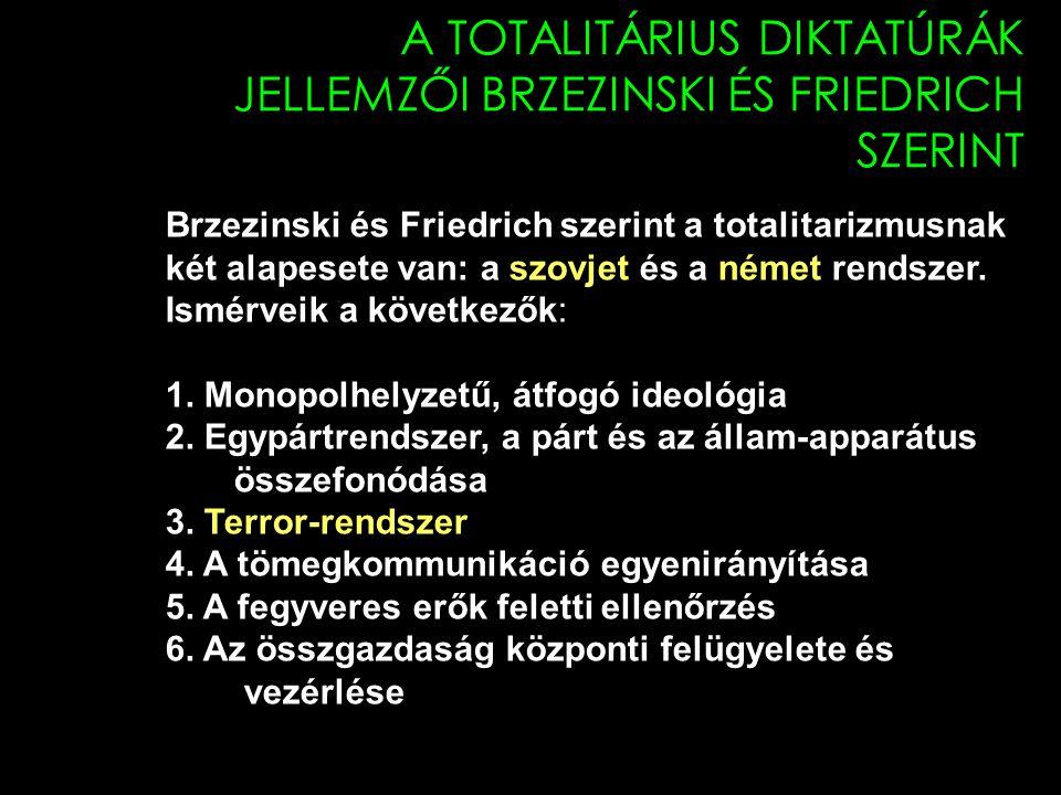 A TOTALITÁRIUS DIKTATÚRÁK JELLEMZŐI BRZEZINSKI ÉS FRIEDRICH SZERINT