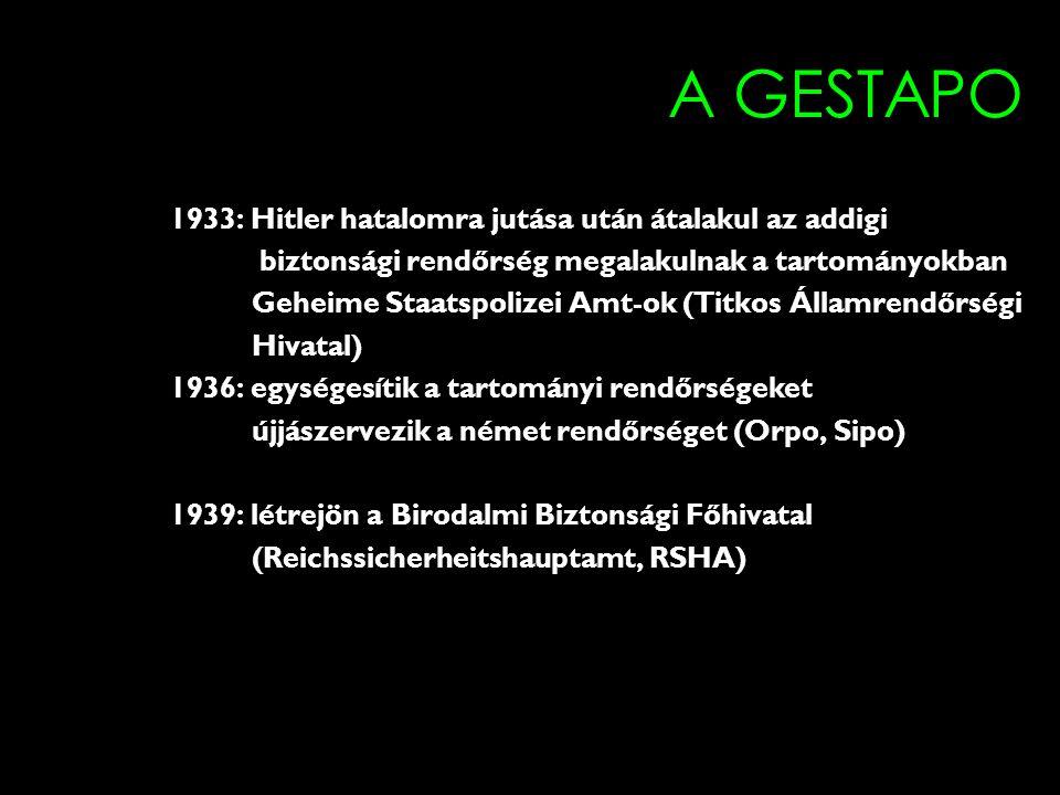 A GESTAPO 1933: Hitler hatalomra jutása után átalakul az addigi
