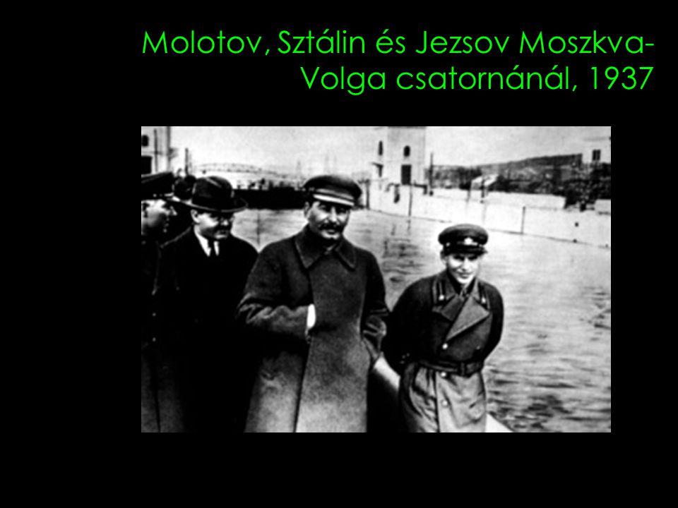 Molotov, Sztálin és Jezsov Moszkva-Volga csatornánál, 1937