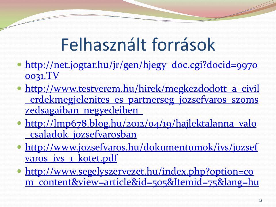 Felhasznált források http://net.jogtar.hu/jr/gen/hjegy_doc.cgi docid=99700031.TV.