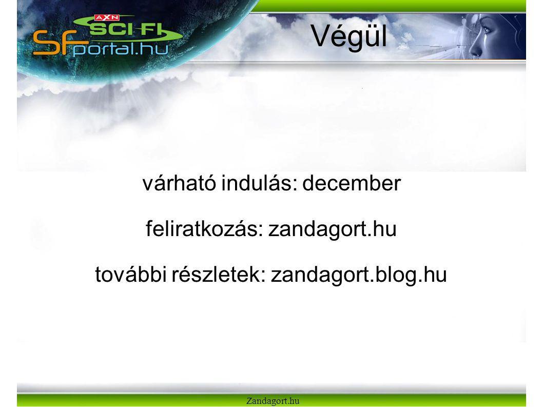 Végül várható indulás: december feliratkozás: zandagort.hu